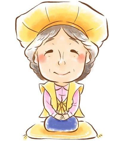 黄色いちゃんちゃんこを着たおばあちゃん
