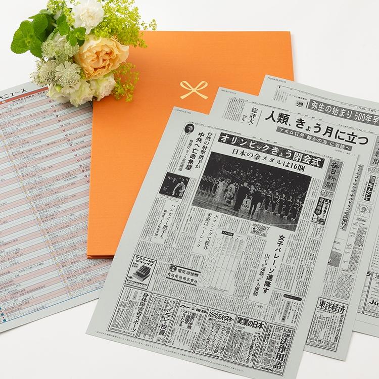【古希祝い】ポケットファイル お好きな日付の新聞 特製ファイルセット メッセージカード・ギフト包装付き(日付・枚数自由選択/3枚~10枚)1